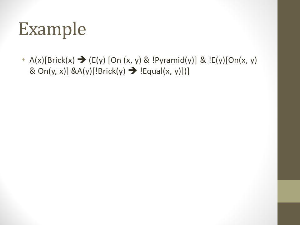 Example A(x)[Brick(x)  (E(y) [On (x, y) & !Pyramid(y)] & !E(y)[On(x, y) & On(y, x)] &A(y)[!Brick(y)  !Equal(x, y)])]
